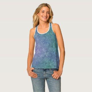 Cool hues blue lilac teal boho style pattern tank top