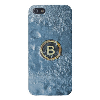 Cool Ice Planet Surface Gold Monogram Case For The iPhone 5