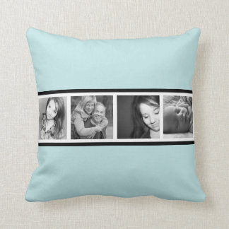 Cool Icy Blue with 4 Instagram Photos Throw Pillow