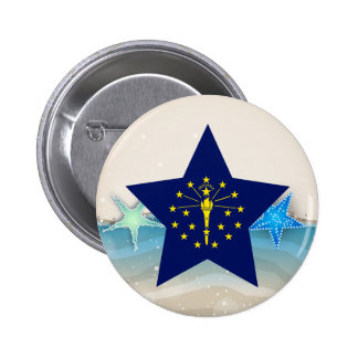Cool Indiana Flag at the Beach 6 Cm Round Badge