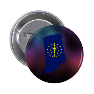 Cool Indiana Flag Map 6 Cm Round Badge