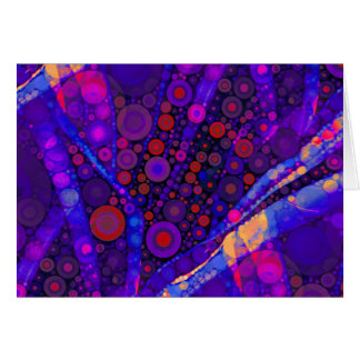 Cool Indigo Concentric Circles Abstract Mosaic Card
