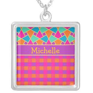Cool Islamic Pattern and Checks Pendant Necklace
