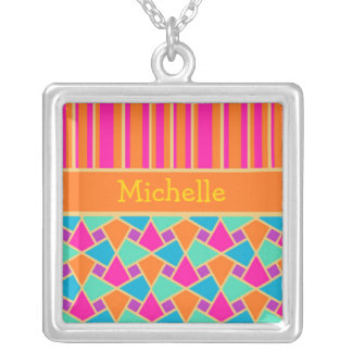 Cool Islamic Pattern and Stripes Pendant Necklace