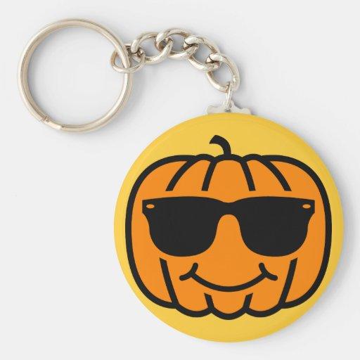 Cool jack-o-lantern with sunglasses key chain