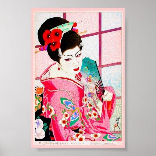 Cool japanese beauty Lady Geisha pink Fan art