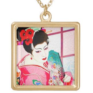 Cool japanese beauty Lady Geisha pink Fan art Square Pendant Necklace