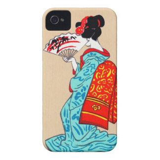 Cool japanese classic geisha lady kimono fan iPhone 4 Case-Mate cases