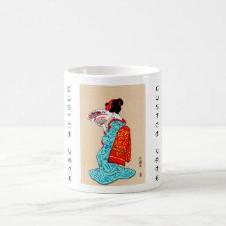 Cool japanese classic geisha lady kimono fan mug
