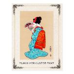 Cool japanese classic geisha lady kimono fan postcard