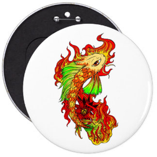 Cool Japanese Cute Koi Carp Fish Flame tattoo 6 Cm Round Badge