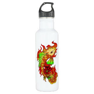 Cool Japanese Cute Koi Carp Fish Flame tattoo 710 Ml Water Bottle