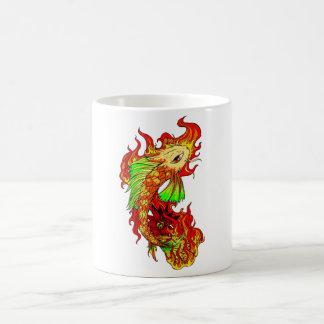 Cool Japanese Cute Koi Carp Fish Flame tattoo Basic White Mug