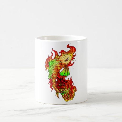 Cool Japanese Cute Koi Carp Fish Flame tattoo Mugs
