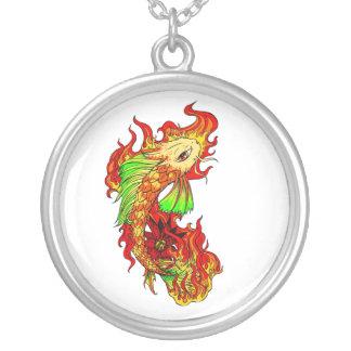 Cool Japanese Cute Koi Carp Fish Flame tattoo Round Pendant Necklace