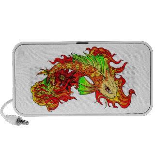 Cool Japanese Cute Koi Carp Fish Flame tattoo Laptop Speakers