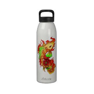 Cool Japanese Cute Koi Carp Fish Flame tattoo Drinking Bottle
