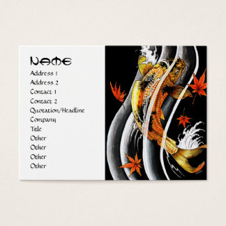 Cool japanese gold lucky koi carp black ink water business card