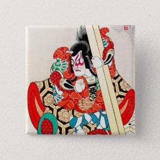 Cool japanese kabuki warrior actor samurai man art 15 cm square badge