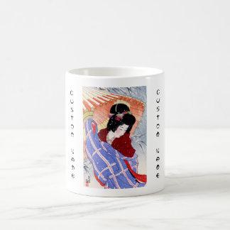 Cool japanese lady geisha umbrella snow winter mug