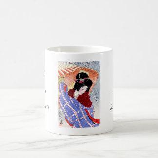 Cool japanese lady geisha umbrella snow winter coffee mug