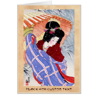 Cool japanese lady geisha umbrella snow winter note card