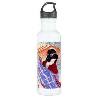 Cool japanese lady geisha umbrella snow winter 710 ml water bottle