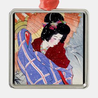 Cool japanese lady geisha umbrella snow winter Silver-Colored square decoration