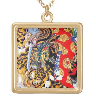 Cool japanese  Legendary Samurai fight tiger art Custom Necklace