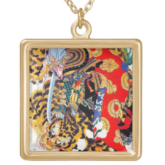 Cool japanese  Legendary Samurai fight tiger art Square Pendant Necklace