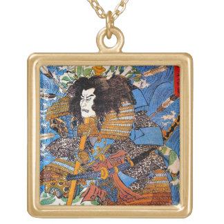 Cool japanese Legendary Samurai Sanin Warrior art Square Pendant Necklace