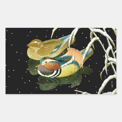 Cool japanese mandarina duck black pond snow rectangular sticker