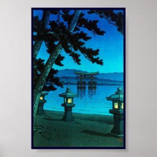 Cool japanese moonlit night gate sea hasui kawase poster