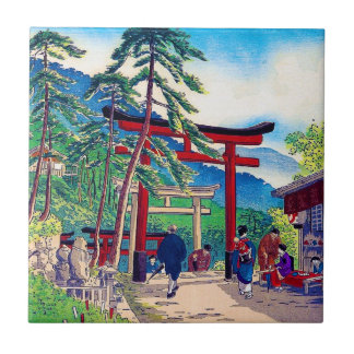 Cool japanese mountain tori gate people scenery small square tile