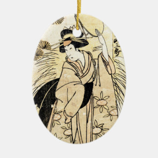 Cool japanese old vintage ukiy-o geisha tattoo christmas ornament