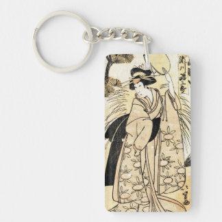Cool japanese old vintage ukiy-o geisha tattoo Double-Sided rectangular acrylic key ring
