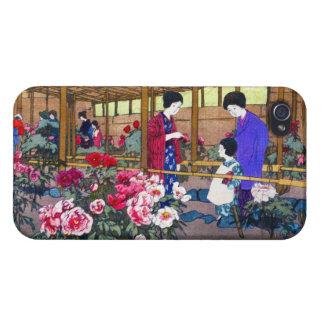Cool japanese oriental flower garden people scene case for iPhone 4