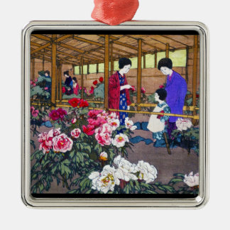 Cool japanese oriental flower garden people scene Silver-Colored square decoration