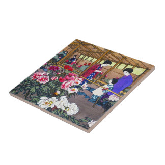 Cool japanese oriental flower garden people scene small square tile