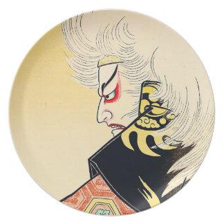 Cool Japanese Oriental Kagamijishi tattoo Dinner Plates