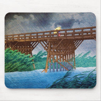 Cool japanese rain bridge river forest Kawase art Mouse Mat