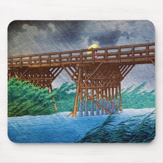 Cool japanese rain bridge river forest Kawase art Mouse Mat