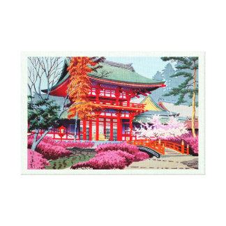 Cool japanese Red Temple Spring Asano Takeji Canvas Print