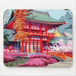 Cool japanese Red Temple Spring Asano Takeji Mouse Mat