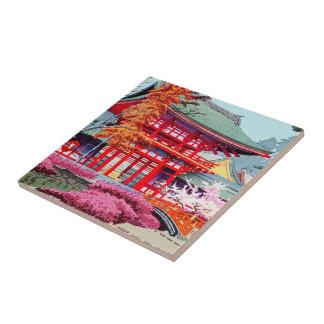 Cool japanese Red Temple Spring Asano Takeji Tile