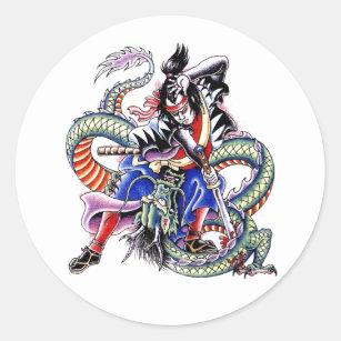 Cool Japanese Samurai Fight Dragon tattoo Classic Round Sticker