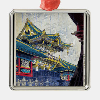 Cool  Japanese Shiro Kasamatsu Ancient Shrine art Silver-Colored Square Decoration