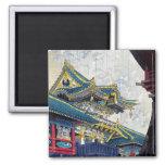 Cool  Japanese Shiro Kasamatsu Ancient Shrine art Square Magnet
