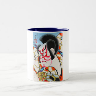 Cool japanese traditional kabuki makeup tadamasa Two-Tone coffee mug