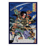 Cool japanese ukiyo-e legendary warrior samurai poster